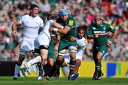 Leicester Tigers number 8 Jordan Crane takes on the Newcastle defence - Photo mandatory by-line: Patrick Khachfe/JMP - Tel: Mobile: 07966 386802 - 21/09/2013 - SPORT - RUGBY UNION - Welford Road Stadium - Leicester Tigers v Newcastle Falcons - Aviva Premiership.