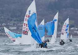 The RYA Youth National Championships came to a close today with racing in all fleets in strong winds on the Largs Channel.<br /> <br /> 420 fleet downwind, 55871, Alex Colquitt, Rebecca Coles, WKSC/ASC, 420 Mixed <br /> <br /> Images: Marc Turner / RYA<br /> <br /> For further information contact:<br /> <br /> Richard Aspland, <br /> RYA Racing Communications Officer (on site)<br /> E: richard.aspland@rya.org.uk<br /> m: 07469 854599