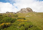 People scrambling on the granite tor of Haytor, Dartmoor national park, Devon, England, UK
