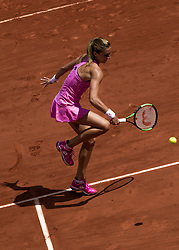 June 5, 2017 - Paris, France - Petra Martic of Croatia returns the ball to Elina Svitolina of Ukraine during the fourth round at Roland Garros Grand Slam Tournament - Day 9 on June 5, 2017 in Paris, France. (Credit Image: © Robert Szaniszlo/NurPhoto via ZUMA Press)