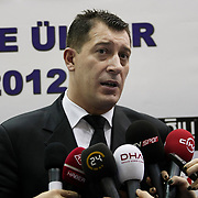 Anadolu Efes's coach Ufuk Sarica during their Turkish Basketball league derby match  Fenerbahce Ulker between Anadolu Efes at Caferaga Sports Hall in Istanbul, Turkey, Saturday 01, 2012. Photo by TURKPIX
