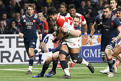 November 25, 2017 - Paris, France - Kazuki Himeno and Scott Spedding in action during the International test match between France and Japan at U Arena. (Credit Image: © Nicolas Briquet/SOPA via ZUMA Wire)