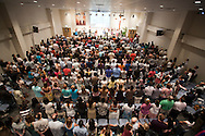 A view of the congregation from the tech booth at the Evangelical Church of Bangkok (ECB) during the Easter service on 24 April 2011 in Bangkok, Thailand