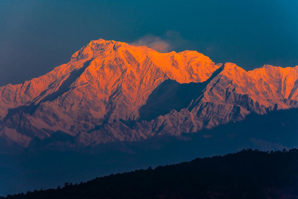 Annapurna South, Annapurna 1, Hiunchuli, peaks of the Annapurna Massif of the Himalayas, seen from Lekhnath,  near Pokhara, Nepal.