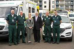 Pictured: Callum Johnston, Ricky Painton; Shona Robison; David Garbutt, Chair of the Scottish Ambulance Service, Ian Stark and Paddy Hunter<br /> <br /> Health Secretary Shona Robison met paramedics today on a visit to Scottish Ambulance Service's city station where she announced new funding for the service<br /> Ger Harley | EEm 24 April 2017