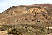 Unusual patterned rock strata on Agujas Grandes volcano, La Isla Graciosa, Lanzarote, Canary Islands, Spain