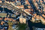 Nederland, Noord-Holland, Enkhuizen, 28-10-2016; centrum van Enkhuizen rond poort De Drommedaris. Oude Haven, Oosterhaven.<br /> Enkhuizen historical city centre.<br /> luchtfoto (toeslag op standard tarieven);<br /> aerial photo (additional fee required);<br /> copyright foto/photo Siebe Swart