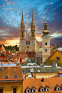 The Neo Gothic Cathedral of the Assumption of the Blessed Virgin Mary, Zagreb, Croatia .<br /> <br /> Visit our MEDIEVAL PHOTO COLLECTIONS for more   photos  to download or buy as prints https://funkystock.photoshelter.com/gallery-collection/Medieval-Middle-Ages-Historic-Places-Arcaeological-Sites-Pictures-Images-of/C0000B5ZA54_WD0s