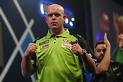 Michael van Gerwen wins his fourth round  match against Adrian Lewis and celebrates during the World Darts Championships 2018 at Alexandra Palace, London, United Kingdom on 27 December 2018.