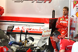 June 23, 2017 - Baku, Azerbaijan - A frustrated Sebastian Vettel (Scuderia Ferrari) sits in pit garage. Vettel suffered a tricky first day of running for the Azerbaijan Grand Prix after being forced to use the reverse gear on three occasions having never once previously needed to call upon it in three years. (Credit Image: © Hoch Zwei via ZUMA Wire)