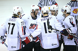 U.S. players (Tom Gilbert (77), Jordan Leopold (4), Brandon Dubinsky, Lee Stempniak (12) and Mark Burish (37)) celebrate a goal at ice-hockey game Norway vs USA at Qualifying round Group F of IIHF WC 2008 in Halifax, on May 12, 2008 in Metro Center, Halifax, Nova Scotia, Canada. USA won 11:1. (Photo by Vid Ponikvar / Sportal Images)
