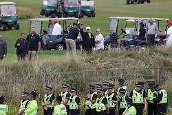 US President Donald Trump plays a round of golf on the Trump Turnberry resort in South Ayrshire, where he and first lady Melania Trump are spending the weekend.