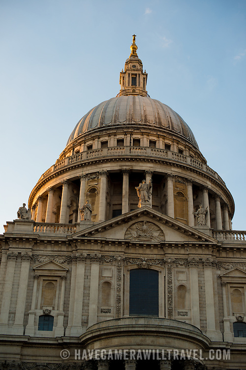The dome of St Paul's Cathedral, one of the most distinctive of London's landmarks, in the late afternoon sun. There has been a church on this site since 604 AD. The current building, with it's massive dome, was designed by Christopher Wren and dates back to the late 17th century.