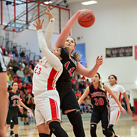 Cliff Cowgirls Jamie Hicks (44) blocks the shot of Pine Hill Warriors Tia DuBoise (23) in the paint during the NMAA State Tournament. The Cowgirls defeated the Warriors 51-40 at Bernalillo High School in Bernalillo Wednesday morning.