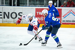 KALAN Luka (SLO) vs NOVOTNY Jan (CRO)during OI pre-qualifications of Group G between Slovenia men's national ice hockey team and Croatia men's national ice hockey team, on February 7, 2020 in Ice Arena Podmezakla, Jesenice, Slovenia. Photo by Peter Podobnik / Sportida