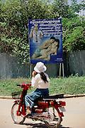 Siem Reap, Cambodia. Aids warning billboard.