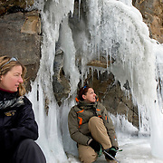 Heleen and Nastya (right) explore the Olkhon Island after trekking across frozen Lake Baikal in Siberia, Russia. (Third Day)..They are a group of five people: Justin Jin (Chinese-British), Heleen van Geest (Dutch), Nastya and Misha Martynov (Russian) and their Russian guide Arkady. .They pulled their sledges 80 km across the world's deepest lake, taking a break on Olkhon Island. They slept two nights on the ice in -15c. .Baikal, the world's largest lake by volume, contains one-fifth of the earth's fresh water and plunges to a depth of 1,637 metres..The lake is frozen from November to April, allowing people to cross by cars and lorries.