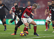 Viktor Fischer of Middlesbrough tussles with Adama Diomande of Hull City during the English Premier League match at Riverside Stadium, Middlesbrough. Picture date: December 5th, 2016. Pic Jamie Tyerman/Sportimage