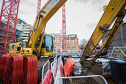 © Licensed to London News Pictures. 15/01/2018. London, UK. Construction equipment on a closed Carillion construction site in central London. The construction firm has gone into liquidation after losing money on big contracts and running up debts of around £1.5bn. Photo credit: Rob Pinney/LNP