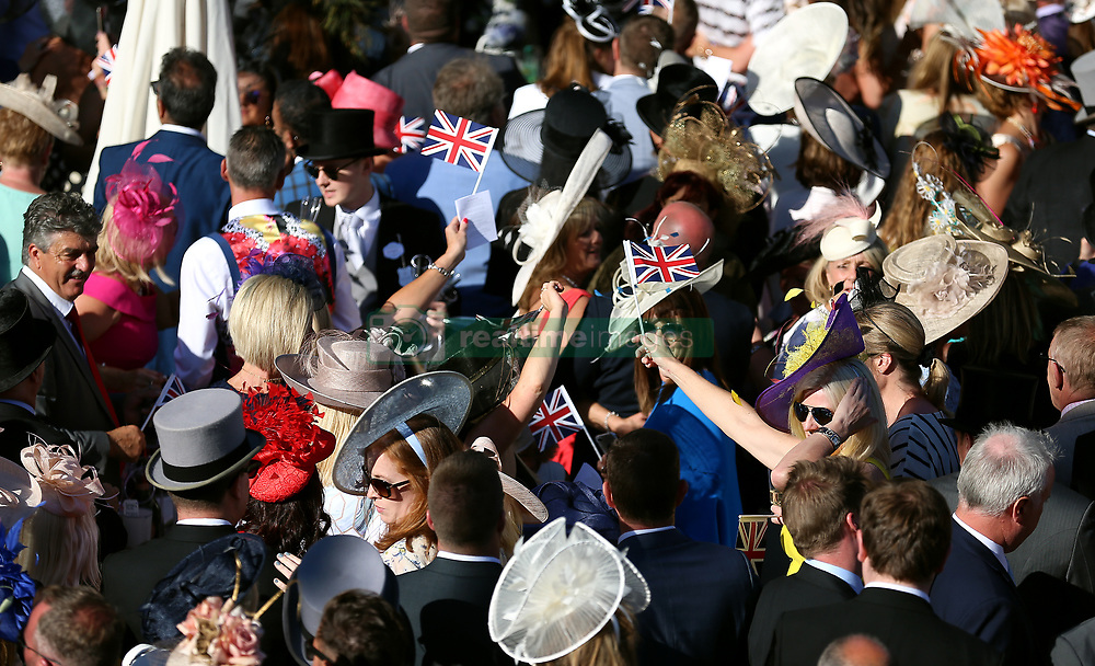 A crowd of racegoers during day three of Royal Ascot at Ascot Racecourse. PRESS ASSOCIATION Photo. Picture date: Thursday June 21, 2018. See PA story RACING Ascot. Photo credit should read: Nigel French/PA Wire. RESTRICTIONS: Use subject to restrictions. Editorial use only, no commercial or promotional use. No private sales.