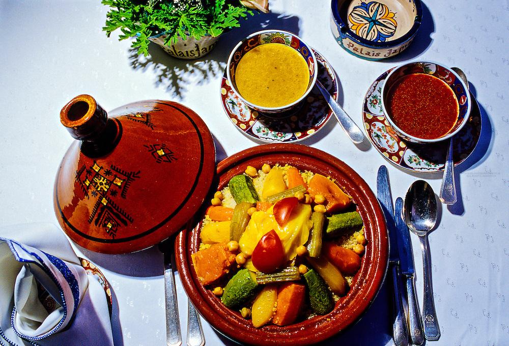 "Couscous, ""Al Fassia"" restaurant in the Palais Jamai (luxury hotel), Fez (Fes), Morocco"