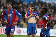 Scott Dann of Crystal Palace © looks on. Barclays Premier league match, Swansea city v Crystal Palace at the Liberty Stadium in Swansea, South Wales on Saturday 6th February 2016.<br /> pic by Andrew Orchard, Andrew Orchard sports photography.