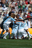 28/08/04 - ATHENS - GREECE -  - OLYMPIC FOOTBALL - FINAL MATCH - MENS  -  <br />ARGENTINA (1) Vs. PARAGUAY (0) At the Olympic Stadium in Athens. Argentine win the goal medal<br />Argentine players celebration after finish the match.<br />GK GEMAN LUX  - FABRICIO COLOCCINI - CLEMENTE RODRIGUEZ - and N*12 MAURO ROSALES - N+16 LUIS GONZALEZ.<br />© Gabriel Piko / Argenpress.com / Piko-Press