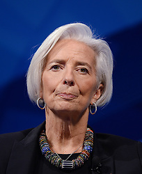 File Photo - IMF head Christine Lagarde has been placed under formal investigation for negligence in French fraud case. She has been questioned several times about her role in a 400m euro (£318m; $527m) compensation payout to businessman Bernard Tapie in 2008. File photo : IMF Managing Director Christine Lagarde participates in a seminar on the global economy as part of the annual IMF/World Bank Spring Meetings at the George Washington University in Washington, DC, USA on April 10, 2014. The European Council announced Tuesday that Lagarde, the current head of the International Monetary Fund, had been chosen to succeed Mario Draghi as president of the European Central Bank,, whose eight-year term ends in October. Photo by Olivier Douliery/ABACAPRESS.COM