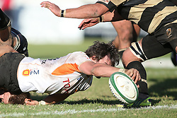 Free State Cheetahs captain Francois Venter stretches to score a try during the Currie Cup match between the Boland Cavaliers and The Free State Cheetahs held at Boland Stadium, Wellington, South Africa on the 6th August 2016<br /> <br /> Photo by:   Shaun Roy/ Real Time Images