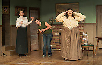 """Dorothy Blake played by Nerrishia Bodwell (center) knew something wasn't quite right with Azabella/Valerie Lake and Hepzibah Saltmarsh/Venessa Alfonso at Ye Olde Wayside Inn during dress rehearsal for the Streetcar Company production of """"It Was a Dark and Stormy Night"""" Tuesday evening.  (Karen Bobotas/for the Laconia Daily Sun)"""