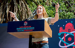 April 14, 2018 - Los Angeles, California, U.S. -  Volcanologist JESS PHOENIX, a candidate for Congress in California's 25th District, speaks at the 2018 March for Science Los Angeles Rally and Expo in Pershing Square.(Credit Image: © Brian Cahn via ZUMA Wire)
