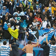 Argentina players celebrate win fans after their 13-12 victory during the Argentina V Scotland, Pool B match at the IRB Rugby World Cup tournament. Wellington Regional Stadium, Wellington, New Zealand, 25th September 2011. Photo Tim Clayton...