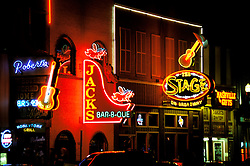 Tennessee: Nashville, music district at night, photo: tnmusi101  .Photo copyright Lee Foster, www.fostertravel.com, 510/549-2202, lee@fostertravel.com