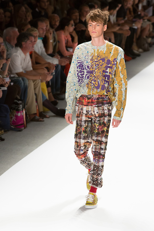 Men's print pants with elastic cuffed hems and print top. By Custo Barcelona at the Spring 2013 Fashion Week show in New York.