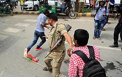 August 17, 2017 - Allahabad, Uttar Pradesh, India - Samajwadi party workers jam a road during a protest against arrest of Samajwadi party president Akhilesh Yadav. (Credit Image: © Prabhat Kumar Verma/Pacific Press via ZUMA Wire)