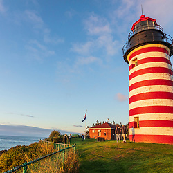 Visitors at West Quoddy Head Lighthouse in Lubec, Maine.