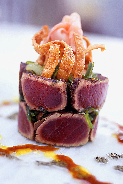 Appetizer of Tuna Tataki,ginger,seaweed,balsamic vinigrette.food photographer,miami,<br /> miami food photography