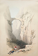 Triumphal Arch Crossing the Ravine Leading to Petra 1839 Color lithograph by David Roberts (1796-1864). An engraving reprint by Louis Haghe was published in a the book 'The Holy Land, Syria, Idumea, Arabia, Egypt and Nubia. in 1855 by D. Appleton & Co., 346 & 348 Broadway in New York.
