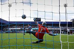 2 September 2017 - Charity Football - Game 4 Grenfell - Grenfell firefighter Adam Foster scores a penalty against Jose Mourinho - Photo: Charlotte Wilson