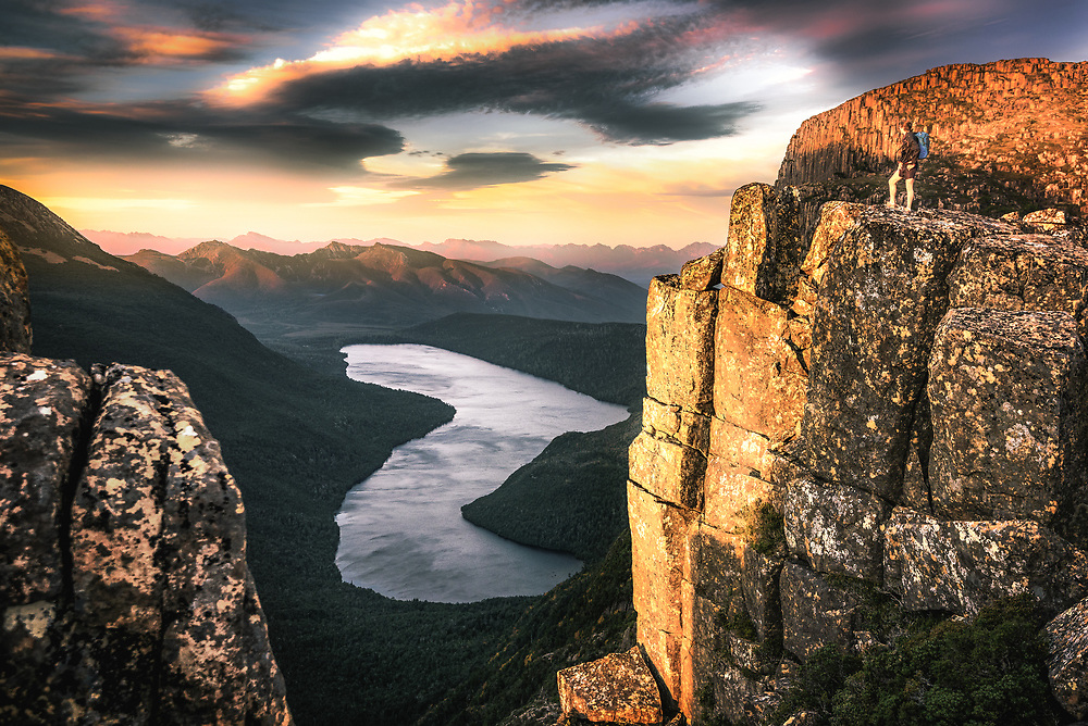 Sunrise over Lake Judd at mt Anne plateau in South West Tasmania