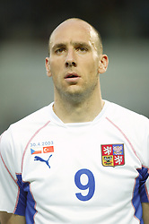 TEPLICE, CZECH REPUBLIC - Wednesday, April 30, 2003: Czech Republic's Jan Koller pictured before a friendly match against Turkey at the Teplice Stadion Na Stinadlech. (Pic by David Rawcliffe/Propaganda)