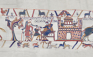 Bayeux Tapestry scene 12 : William gives orders to his messengers for Harolds release, BYX12 .<br /> <br /> If you prefer you can also buy from our ALAMY PHOTO LIBRARY  Collection visit : https://www.alamy.com/portfolio/paul-williams-funkystock/bayeux-tapestry-medieval-art.html  if you know the scene number you want enter BXY followed bt the scene no into the SEARCH WITHIN GALLERY box  i.e BYX 22 for scene 22)<br /> <br />  Visit our MEDIEVAL ART PHOTO COLLECTIONS for more   photos  to download or buy as prints https://funkystock.photoshelter.com/gallery-collection/Medieval-Middle-Ages-Art-Artefacts-Antiquities-Pictures-Images-of/C0000YpKXiAHnG2k