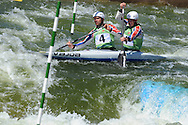 Great Britain's Timothy Baillie and Etienne Stott competing in the c2 class. ICF Canoe slalom world cup at the Cardiff white water centre in Cardiff, South Wales on Saturday 9th June 2012.  pic by Andrew Orchard, Andrew Orchard sports photography,