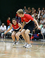 Loughborough, England - Saturday 31 July 2010: Natalie Fioretto and Eddie Yacynch of the USA in action during the World Rope Skipping Championships held at Loughborough University, England. The championships run over 7 days and comprise junior categories for 12-14 year olds in the World Youth Tournament, 15-17 year olds male and female championships, and any age open championships. In the team competitions, 6 events are judged, the Single Rope Speed, Double Dutch Speed Relay, Single Rope Pair Freestyle, Single Rope Team Freestyle, Double Dutch Single Freestyle and Double Dutch Pair Freestyle. For more information check www.rs2010.org. Picture by Andrew Tobin/Picture It Now.