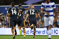 GOAL/CELE - Jonjo Shelvey of Newcastle United celebrates after scoring his sides 1st goal to make it 0-1 . EFL Skybet football league championship match, Queens Park Rangers v Newcastle Utd at Loftus Road Stadium in London on Tuesday 13th September 2016.<br /> pic by John Patrick Fletcher, Andrew Orchard sports photography.