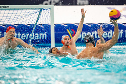 Kjeld Veenhuis of the Netherlands in action against Mehdi Marzouki of France during the Olympic qualifying tournament. The Dutch water polo players are on the hunt for a starting ticket for the Olympic Games on February 17, 2021 in Rotterdam
