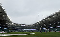 A general view of Twickenham Stadium as snow falls before the NatWest 6 Nations match between England and Ireland.