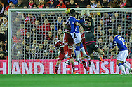 Everton forward Romelu Lukaku  with a header on target  during the Capital One Cup match between Middlesbrough and Everton at the Riverside Stadium, Middlesbrough, England on 1 December 2015. Photo by Simon Davies.