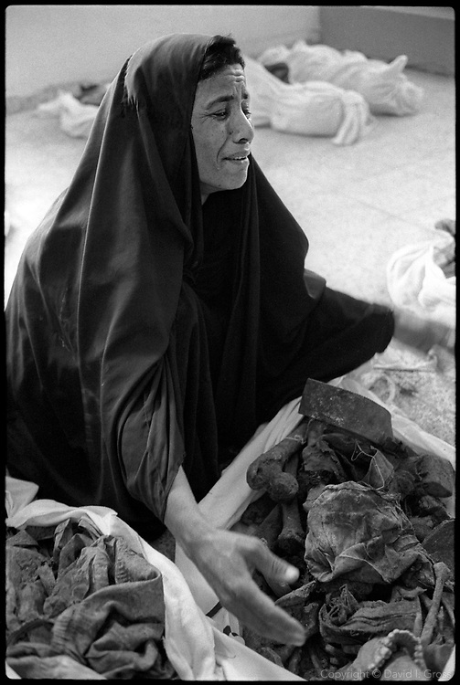A woman cries in frustration as she searches for her missing relatives among the bones in shrouds that fill the gymnasium of the local sports center in Al-Musayab, Iraq. The center is now the home of an Iraqi human rights organization which is overseeing the exhumations of bodies from local mass graves. People come from all over to check the clothing and ID cards of the bodies, looking for relatives.