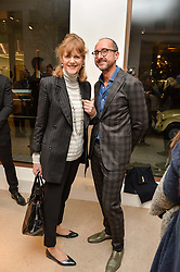 VIRGINIA JOHNSON and GIANLUCA LONGO at a private view of Bright Young Things held at the David Gill Gallery, 2-4 King Street, London on 19th April 2016.